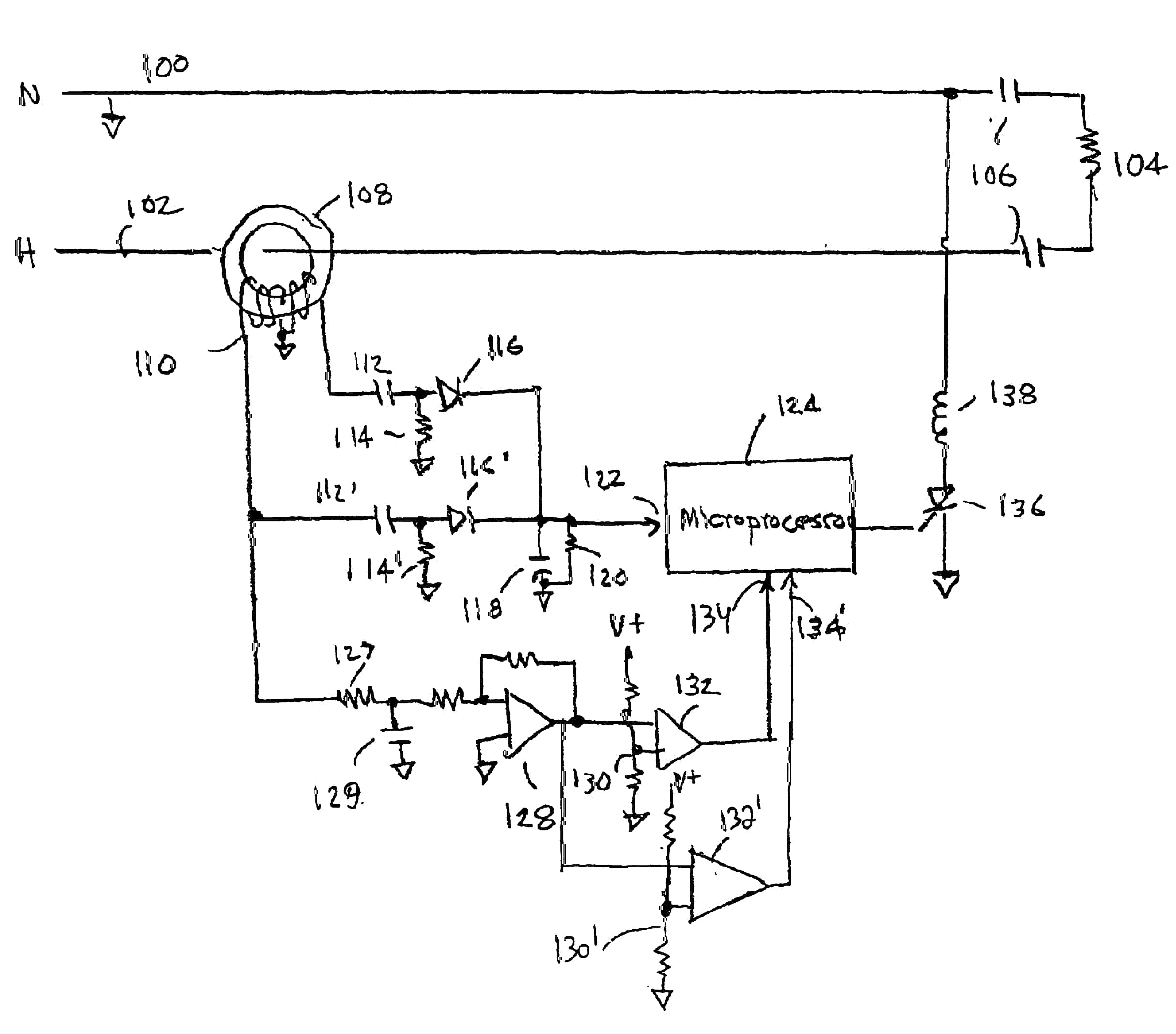 arc fault circuit breaker williams electric 510 339 5601 oakland arc fault circuit interruptor diagram hand drawn showing diodes resistors micro processor current